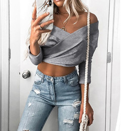 Cropped Tees Australia - Cross V Sexy Women T-shirt Long Sleeve Fashion Tees Tops Solid Crop Tops Backless Ladies Clothes Shirt Blusas Plus Size