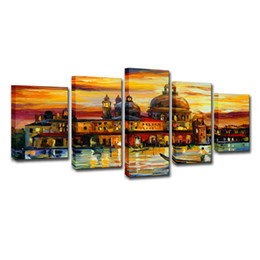 $enCountryForm.capitalKeyWord NZ - Canvas Pictures Home Decor Wall Art 5 Pieces Aquatic City Landscape Posters HD Prints Castle Boat Abstract Paintings Framework