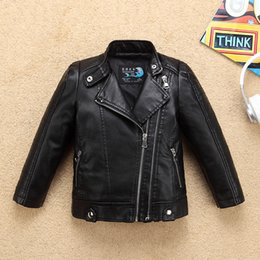 Water Proof Coatings Australia - Cool Water Proof Boys Girls Motor Leather Jacket for Autumn Spring Kids Thermal Coat Bicycle Bomber Children's Clothing