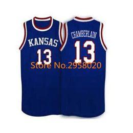 Cheap custom  13 Wilt Chamberlain Kansas Jayhawks KU College Basketball  Jersey White Blue Embroidery Stitched Custom any Number and name f6df74fa2