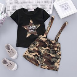 Military Camouflage Clothing NZ - Boy suits Summer military 100% cotton camouflage soft&leisure child clothes Two sets of soft fabric with short sleeve straps suits for boys