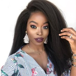 yaki wigs black women NZ - Yaki Straight Wig Remy Brazilian Lace Front Human Hair Wigs For Women Natural Black Pre Plucked Lace Front Wig