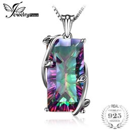 mystic fire topaz pendant UK - Huge 17.8ct Vintage Fashion Genuine Natural Fire Rainbow Mystic Topaz Necklaces Pendant Solid 925 Sterling Silver Set For Women S18101308