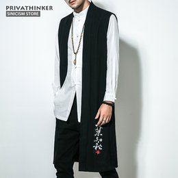 0fd366a440c Hot Size Plus Cotton Linen Sleeveless Vest Men Embroidery Long Length Jackets  Male Chinese Traditional Autumn Coat