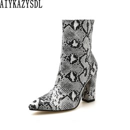 bikers boots UK - AIYKAZYSDL Leopard Snakeskin Print Boots Women Thick Block High Heel Ankle Boots Biker Motorcycle Fetish Shoes Bootie