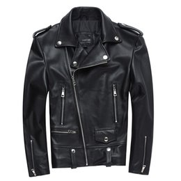 Leather piLLow factory online shopping - Factory New Men Motorcycle Leather Jacket Genuine Sheepskin Punk Oblique zipper Bomber Biker Men Leather Jackets S XL D18101001