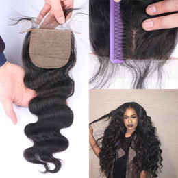 Shed Base NZ - Brazilian Hair Closures Free Middle Three Part Virgin Body Wave Silk Base Closure Top Quality No Shedding LaurieJ Hair