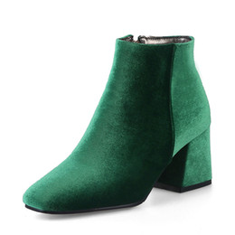black blocks UK - Velvet Boots Women Ankle Boots High Heels Short Boots Zipper 2018 Brand Luxury Block Heel Shoes Green Big Size 12 33-46