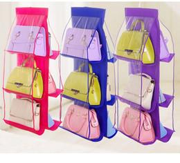 cars ties 2019 - 6 Colors Organizer Backpack Handbag Storage Bags Hanging Shoe Storage Bag 6 Pocket Closet Bathroom Accessories Home Deco