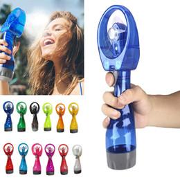 $enCountryForm.capitalKeyWord Australia - Portable Handheld Cooling Spray Fan Mini Hand Held Water Spray Mist Fan Bottle Mist Sport Beach Small Electronic Sprayer Fans 10 colors