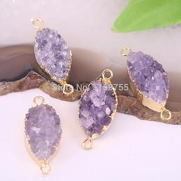 $enCountryForm.capitalKeyWord Australia - 5Pcs Fashion Nature Purple Quartz Stone Connector Beads,Oval Charm Gems Connector Beads For Jewelry Making