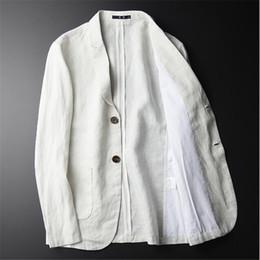 Men White Linen Casual Suits Australia - New Casual Blazer Men Fashion Plus Size Business Slim Fit Jacket Brand Suits Blazer Coat Button Suit Men Jacket For Male A3645