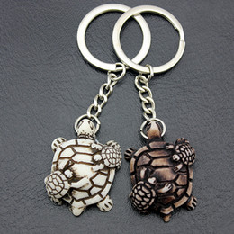 LoveLy rings gift for girLs online shopping - Jewelry Lovely turtles mother and child Keyrings Imitation Yak Bone tortoise Keychains Car Key Rings for men women gifts