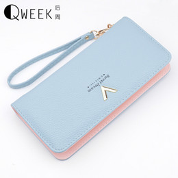 Cell Phone Chain Holder Canada - QWEEK Women Wallets 2017 New Long Fashion PU Leather Wallet Female V Clutch Card Holder Girl Coin Purse Zipper Cell Phone Pocket