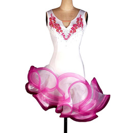 Latin Dance Costumes Woman Canada - Latin Dance Dress Women Girls Latin Salsa Dance Competition Dresses Samba Costumes 4 Colors D0132 Rhinestones Appliques Fluffy Hem