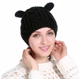 50b7751a354 Knitted Gorros Winter Warm Cartoon Cat Ears Hats for Knit Beanie Hat  Braided Cap for Girls Wool Hat Female Skullies Stocking