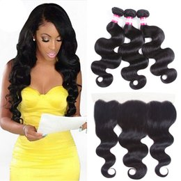 Full Body Wave Hair NZ - Brazilian Body Wave With Closure 13x4 Full Ear To Ear Lace Frontal Closure With Bundles Brazilian Hair Weave Bundles With Closure