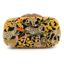 Animal Handmade Canada - Luxury Animals 100% Handmade Diamonds Ladies Clutch XIYUAN Evening Bag Party Women Pochette Party Purse High-End Crystal Handbag