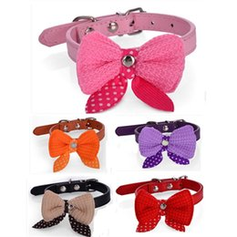 knit dog collar 2019 - Butterfly Bowknot Pet Collar Wool Yarn Pu Knitted Bow Cat Dog Collars Pets Supplies Puppy Katty Accessories 3 1wn gg che