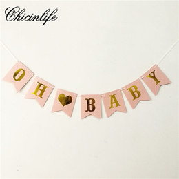 baby shower party props NZ - Chicinlife 1Set oh baby Banner Baby Girl birthday Bunting Banner party decorations Photo Booth Props Garland Shower decor