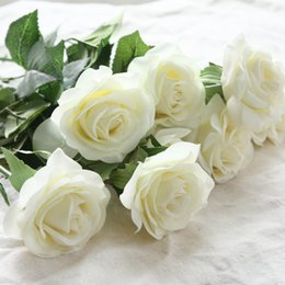 $enCountryForm.capitalKeyWord Australia - 12pcs lot Artificial Flowers Latex Real Touch Rose Flowers Wedding Bouquet Home Party Fake Flowers Decor Rose Party Supplies