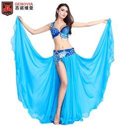 20ef1b987174 2018 Luxury Professional Belly Dancing Costumes Set Performance Diamond 3  PCS Bra Belt Skirt Belly Dance Oriental Costume S M L