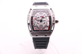 Wholesale BOYUHENG man high quality cool watch silver skull dial man s rubber red Circle silver steel case quartz watch