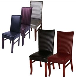 Discount Banquet Dining Chair Covers   Leather Pu Spandex Stretch Dining Chair  Covers Machine Washable For