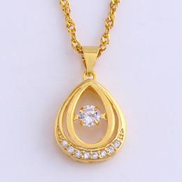 $enCountryForm.capitalKeyWord Australia - Teardrop Zirconia Pendant Chain 18k Yellow Gold Filled Classic Womens Girls Pendant Necklace Classic Style Gift