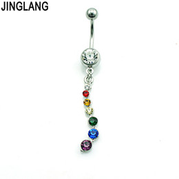 belly balls UK - JINGLANG Brand New Fashion Belly Button Rings Stainless Steel Barbell Dangle Color Rhinestone Ball Navel Piercing Jewelry