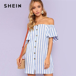 23fb2c151a Shein Dresses Canada - SHEIN Multicolor Vacation Boho Bohemian Beach  Striped Off Shoulder Button Up Short