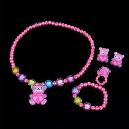 $enCountryForm.capitalKeyWord Australia - New children's cute bear pearl necklace set girl four-piece necklace accessories jewelry