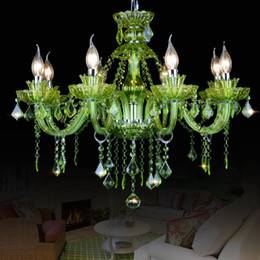 purple pendants Australia - LED Candle Chandelier Modern Colored Glass Crystal Chandelier LED Pendant Light for New House Decoration Pink Red Green Purple Colors