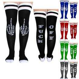 69746408fc2 Women Girls Fuck-off Letter Funny Long Socks Hand Bone Skeleton Print  Stockings Sports cheerleader Long loose Socks Street Heap Stockings