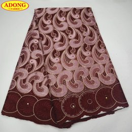 $enCountryForm.capitalKeyWord NZ - ADONG brown present Swiss cotton voile lace fabrics high quality African lace fabric with embroidery stones dark color for party