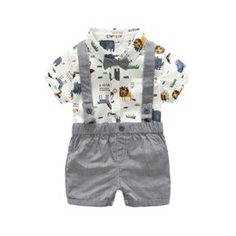 baby boy casual rompers UK - 2 Styles Daddy's Baby Boy Girl Animal Short Sleeve T-Shirt Tops+Grey Plaid Short Pants Outfit Casual Outfit Kids Rompers Sets