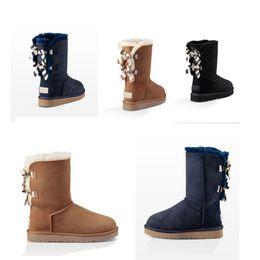 22bec2ad513 2019 brand fashion designer women Australia Classic snow boots Navy blue  Chestnut Black wgg bows warm winter Bailey bows tall boots
