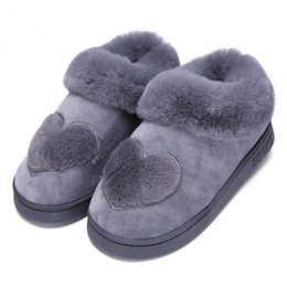 Home slippers online shopping - Women Winter Heart Shaped Cotton Slippers Flat Skid Resistance Home Indoor Thicken Warm Slippers