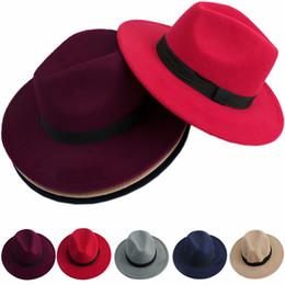 blue felt hat 2018 - Men Women Jazz Bowknot Hard Felt Fedora Bowler Panama Wide Hat Brim Gangster Cap F05 cheap blue felt hat