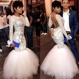 Sexy Africano Bianco Mermaid Maniche Lunghe Prom Dresses 2019 Paillettes Appliqued Backless Prom Dresses Abiti Da Sera Abiti Del Partito BA8423