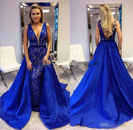 $enCountryForm.capitalKeyWord NZ - Sexy Mermaid Evening Dresses 2018 Deep V Neck Detachable train Open Back Lace Prom Formal Party Red Carpet Gowns royal blue Cheap Customized
