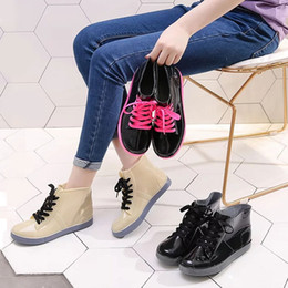 6f26a1ce08876f PVC Fashion Women Transparent Rain Boots Rubber Lace Up Women Ankle Boots  Waterproof Casual Comfort Ladies Martin Shoes
