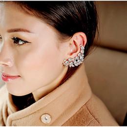 $enCountryForm.capitalKeyWord NZ - 2017 New 1pc Flower Shape Rhinestone Left Ear Cuff Clip Golden Earring Ear Stud