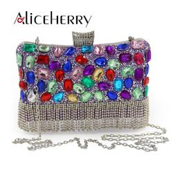 $enCountryForm.capitalKeyWord NZ - Luxury Women Party Bags Handmade Diamond Crystal Tassels Lady Evening Bag Clutch Bag Colorful Clutches Wedding Purse
