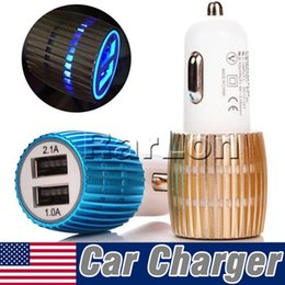 Mini Usb Micro Car Charger Adapter NZ - Aluminum Car Chargers Micro Auto Universal Dual 2 Port USB 1A For IPhone X IPad Moto Z 2.1A 12V Mini Car Charger Adapter