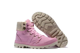White cut floWers online shopping - PALLADIUM Women s Pallabrouse Pink Sneakers Turn help Military Ankle Boots Canvas Casual Shoes Turned over Edge Shoes Eur