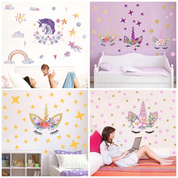 Black crayons online shopping - Diy Home Decor Wall Stickers Art Waterproof Unicorn Stars Pattern Sticker Eco Friendly Pvc Translucent Rainbow Crayon Style fx KK