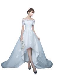 $enCountryForm.capitalKeyWord UK - Elegant High Low Cheap Wedding Dresses With Short Sleeves Applique Lace Corset Organza Court Train Plus size Bridal Gowns Off shoulders