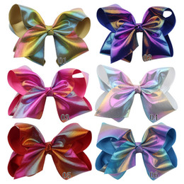 Holiday Hair Australia - 20cm 8 inches big bow hair accessories laser colorful girls holidays barrettes hairband jojo fashion baby girls Hairpin