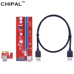 Discount pci card connector - CHIPAL 5pcs 0.6M PCI-E 1Xto 16X Riser Card Extender PCI Express Converter+USB 3.0 Cable 15Pin SATA Power Connector for B